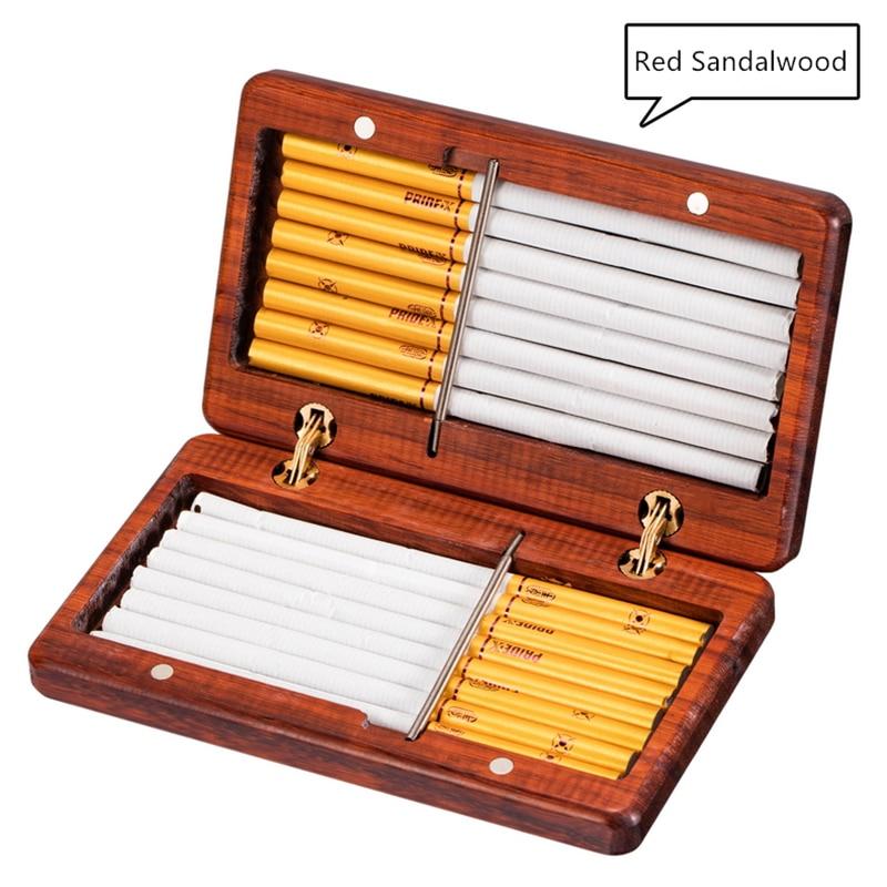 Fine Rosewood Purple Sandalwood Cigarette Case 10/16 Sticks Handmade Solid Wood Portable Cigarettes Box Creative Redwood Gifts enlarge