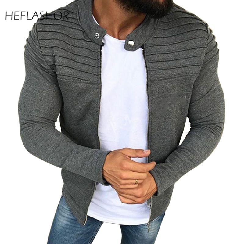 HEFLASHOR 2020 Casual para hombres chaqueta masculina estrecha sudaderas de manga larga prendas de vestir exteriores Tops hombre raglán cremallera sudaderas otoño primavera