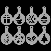 8pcs christmas coffee stencils cake cupacke template coffeeware milk cappuccino decor mold home kitchen dinning bar accessories