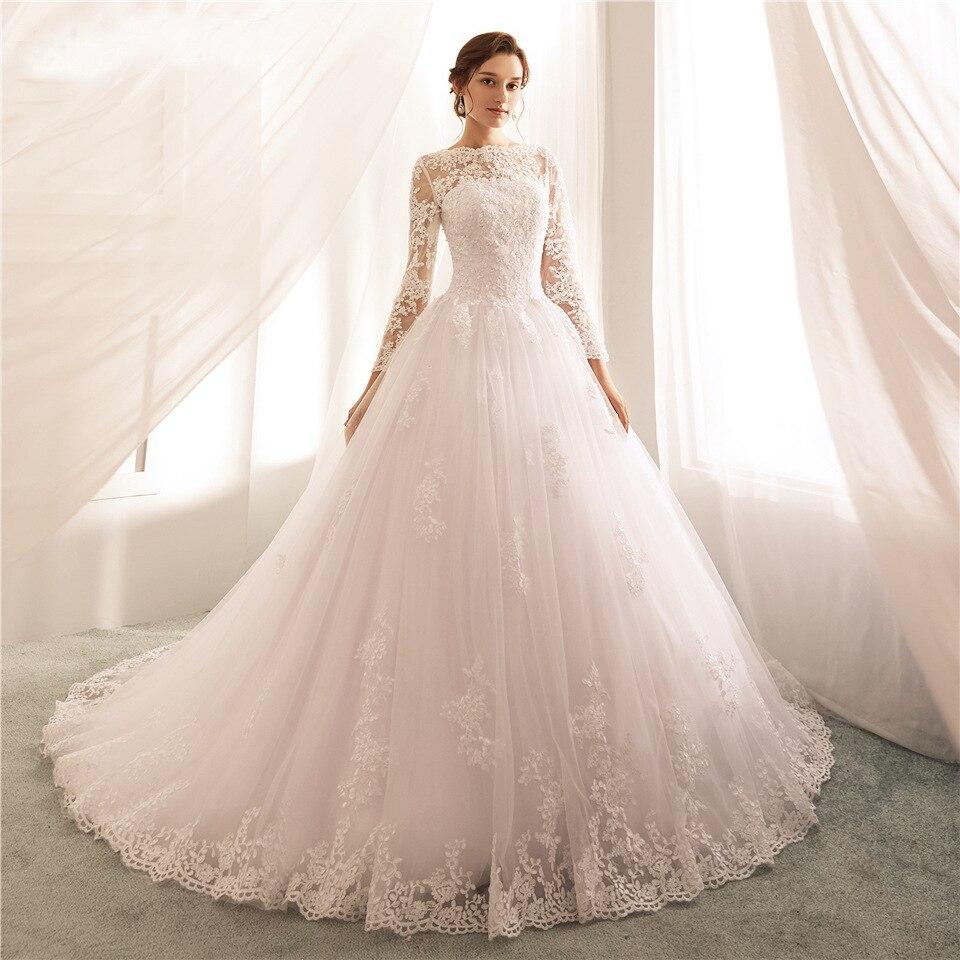 فستان زفاف بأكمام طويلة ، عتيق ، رقبة مستديرة ، دانتيل مطرز ، مصنوع حسب الطلب ، وهم بسيط ، مجموعة جديدة 2020