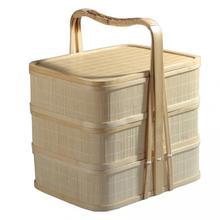 Hand-gewebt drei-schicht bambus korb bambus picknick korb durch woche mit mobile körbe take-out hotel lieferung korb bambus aalen sich