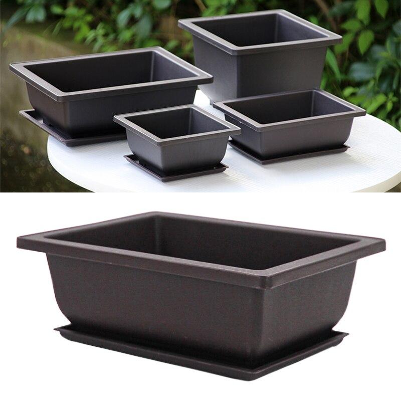 1pc Imitation Purple Sand Plant Tray For Plastic Flower Pot Balcony Square/Rectangular Pots Bonsai Bowl Garden Decoration