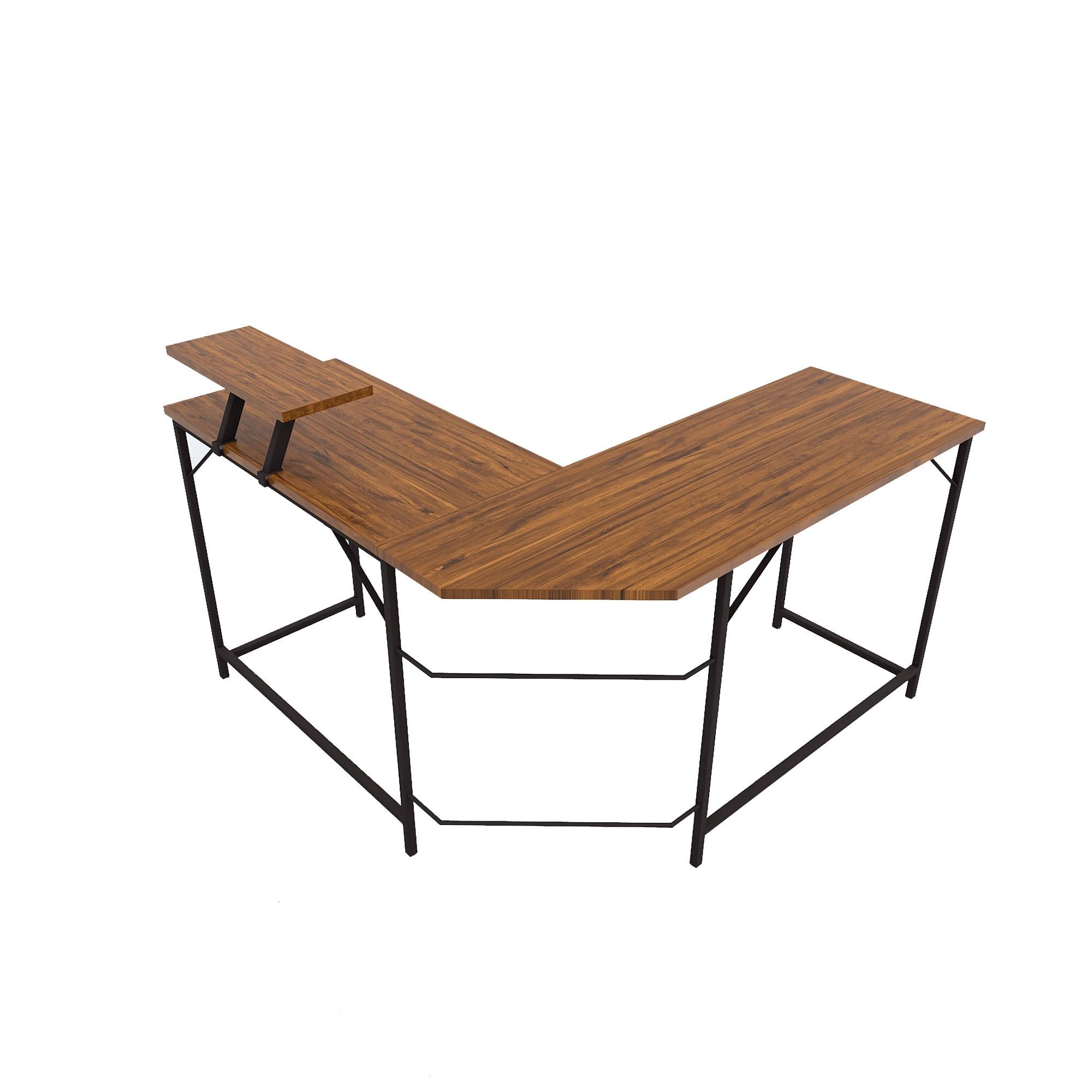 L-образный угловой компьютерный стол, промышленный ПК, ноутбук, учебный стол, рабочая станция для дома, офиса, дерево и металл, деревенский ко...