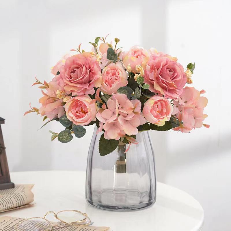 Красивые Гортензия розы искусственные цветы для украшения для дома и свадьбы, высокое качество, для осени букет мусс пион искусственный цветок Искусственные и сухие цветы      АлиЭкспресс