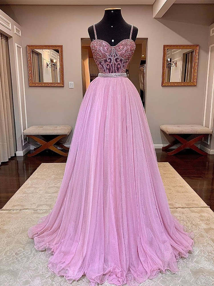 Sexy Pink Long Prom Dresses Tulle Beaded Bling Women Robe De Soiree Vestidos De Fiesta Mujer Cocktai