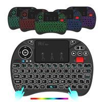 Беспроводная мини-клавиатура Rii X8 Plus, 2,4 ГГц, с тачпадом, голосовым управлением, подсветкой, перезаряжаемой батареей для Android TV box, ПК