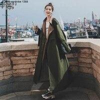 army green two piece windbreaker coat womens medium long autumn 2020 new korean loose temperament coat