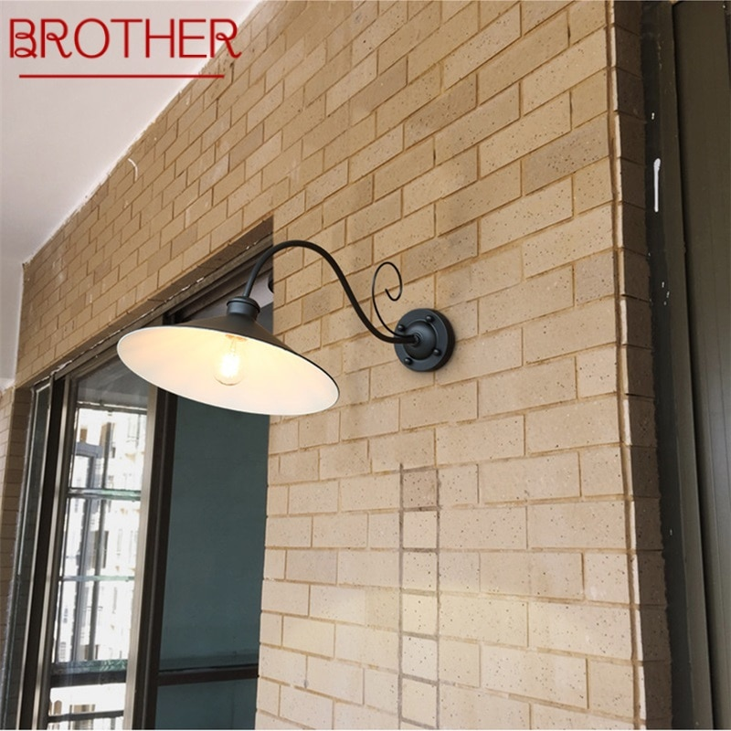 BROTHER Wall Lamp Outdoor Classical Sconces Light Waterproof Horn Shape Home LED For Porch Villa