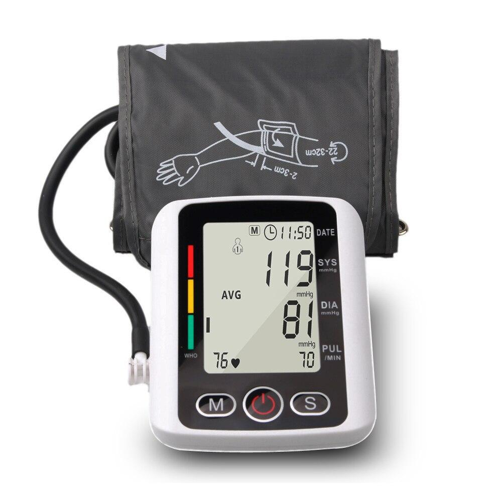 Pouls battement de coeur mesure sphygmomanomètre BP manchette tonomètre automatique LCD numérique bras supérieur moniteur de pression artérielle PR Machine