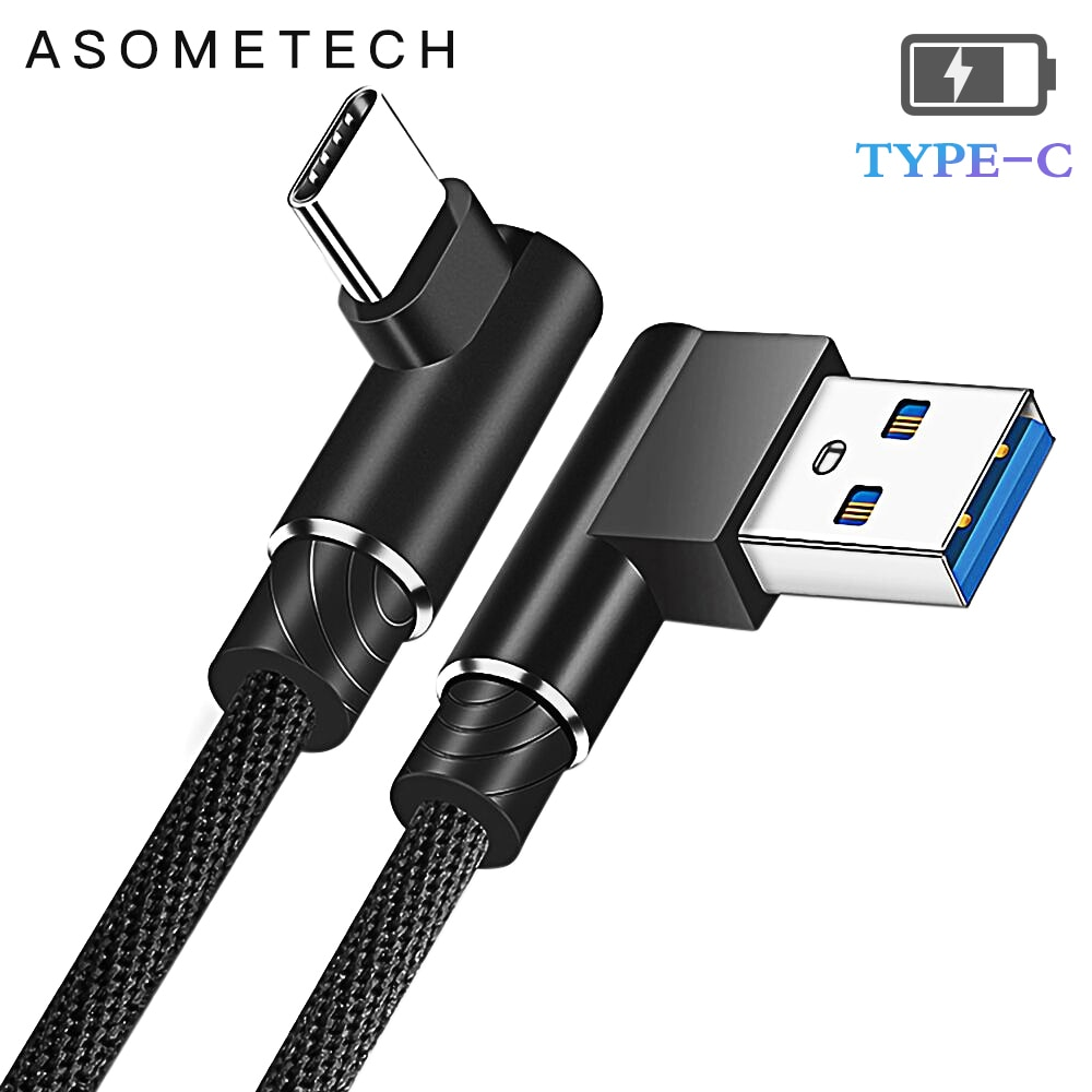 Type C USB Cable 90 Degree Charging Cable For Samsung S9 S10 S8 2A Fast Charger Data Cable For Xiaomi Mi 9 Huawei P30 P20 Mate20