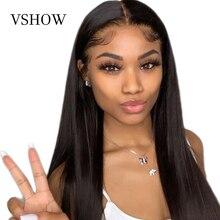 Pelucas frontales de encaje recto malasio VSHOW para mujeres negras, pelucas de cabello humano Remy de alta densidad, peluca Frontal de encaje transparente