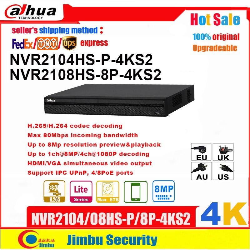 داهوا NVR 4K NVR2108HS-8P-4KS2 8POE 8CH NVR2104HS-P-4KS2 4POE 4CH H.265 H.264 مسجل فيديو يصل إلى 8Mp قرار P2P ماكس 80 150mbps