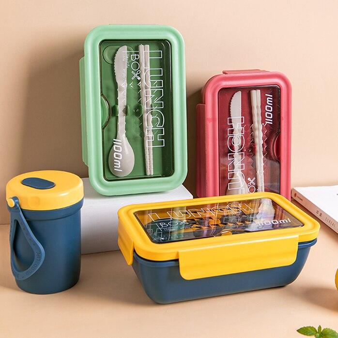 الميكروويف علبة طعام للتسخين البلاستيك المحمولة يسلب الغذاء صندوق الغداء صحية آمنة Fiambrera Infantil حاويات المطبخ DK50LB