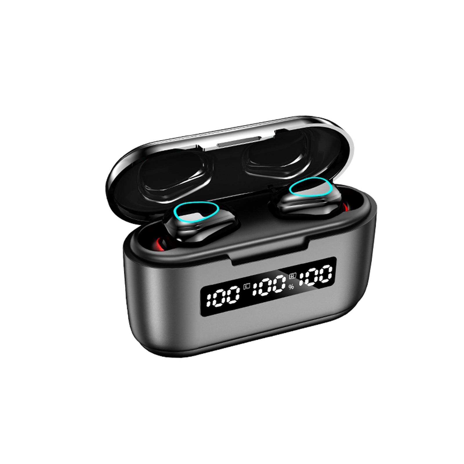 Fone de ouvido sem fio bluetooth 5.1, com visor de energia, estéreo, esportivo, sem fio