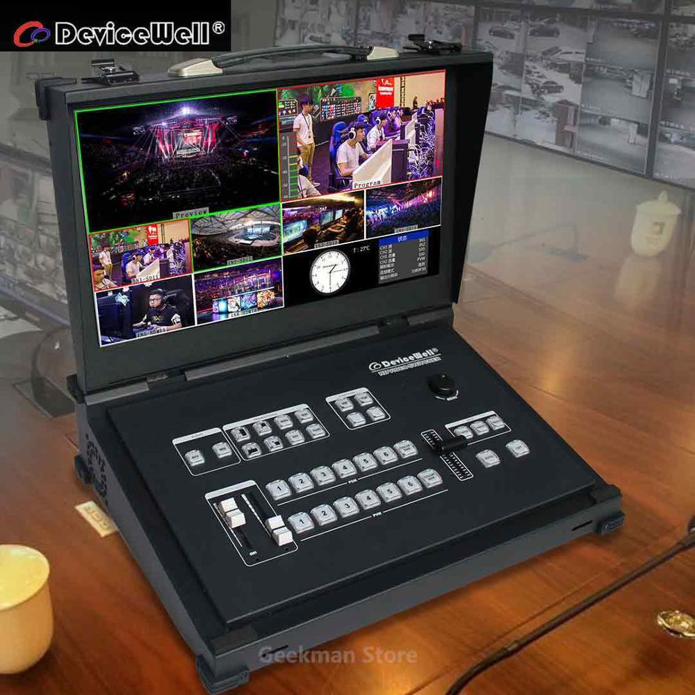 Conmutador de vídeo portátil con monitor de 6 canales y guía de 4 vías SDI + 2 HDMI para nuevos medios de transmisión en directo de Devicewell HDS9106