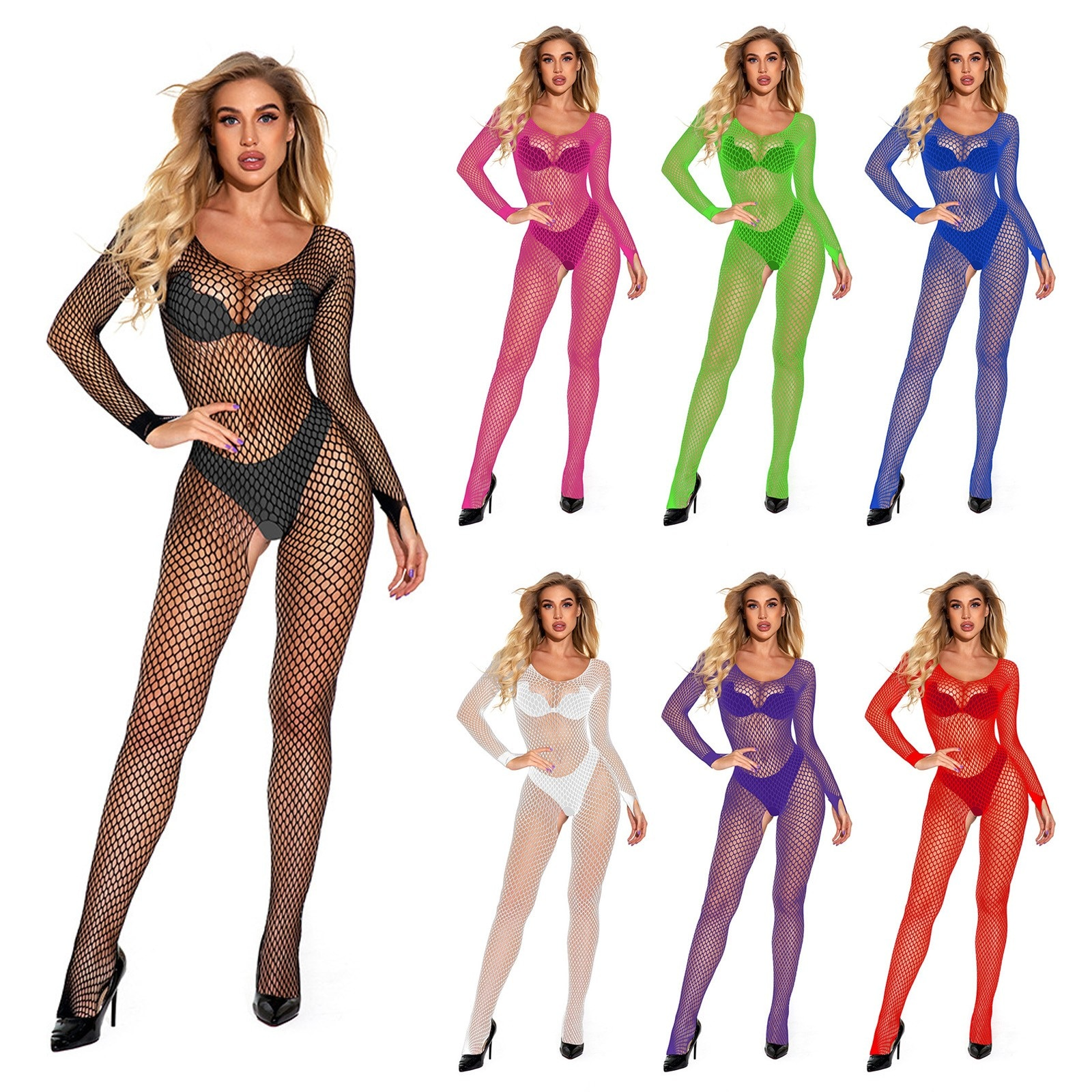 Sexy Bodystockings Women Fishnet Open Crotch Catsuit Mesh Tights Babydoll Lingerie Erotic Bodysuit S