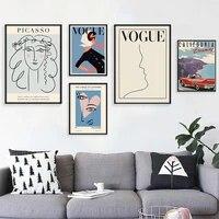 Affiche murale en toile pour femmes  mode  exposition abstraite  peinture  citations  Style de dessin en ligne  impression dimages murales  decor de maison