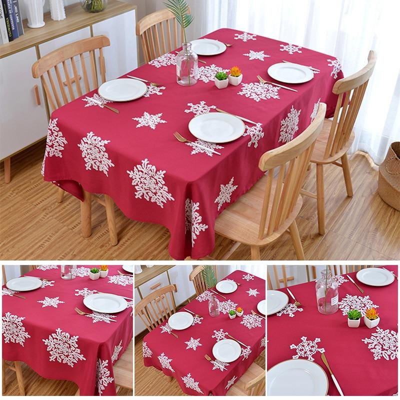 Recém natal decorativo toalha de mesa anti enrugamento linho algodão bordado feriado toalha de mesa para decoração de natal