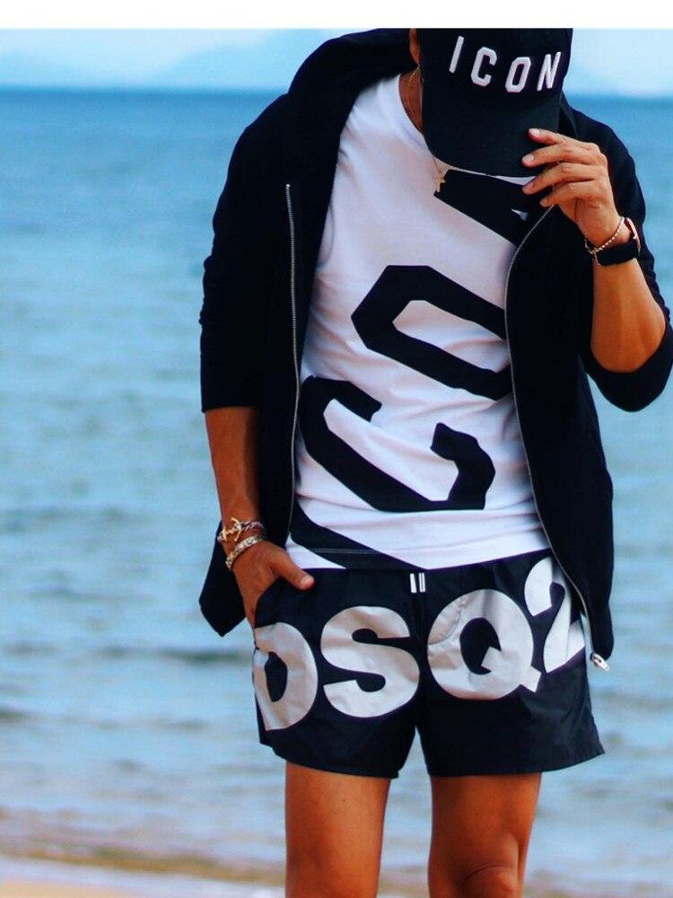 DSQ2 Brand 5 Style Men's Beach Shorts Printed Letters Summer Running ShortsJogging Fitness Quick Dry Mens Gym Men Shorts