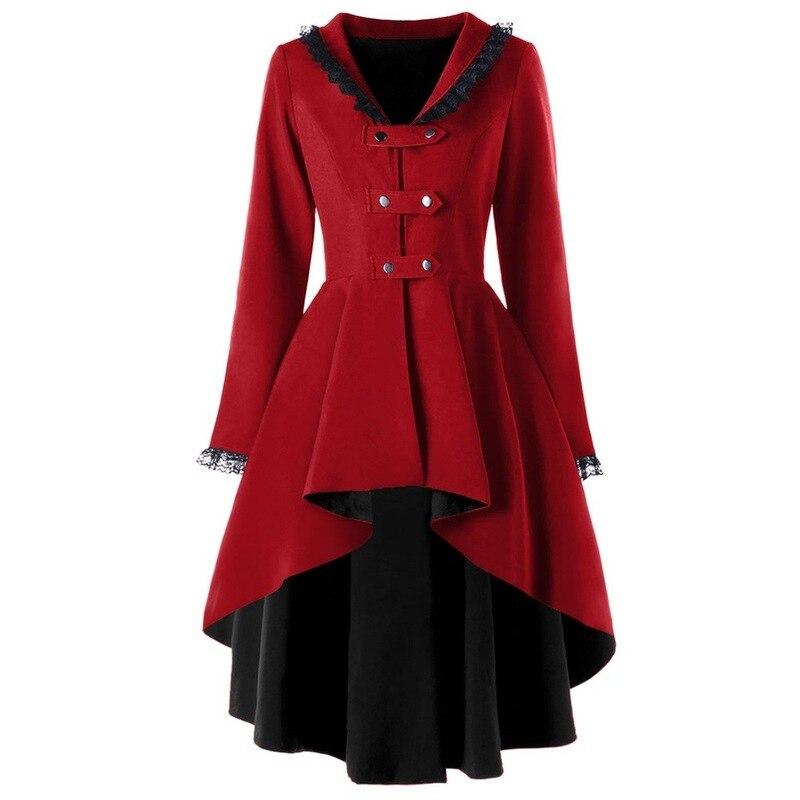 Trench Women Gothic Coat Black Long Woolen Coat Back Lace Up Windbreaker Female Halloween Cosplay Party Overcoat Gothic Outwear