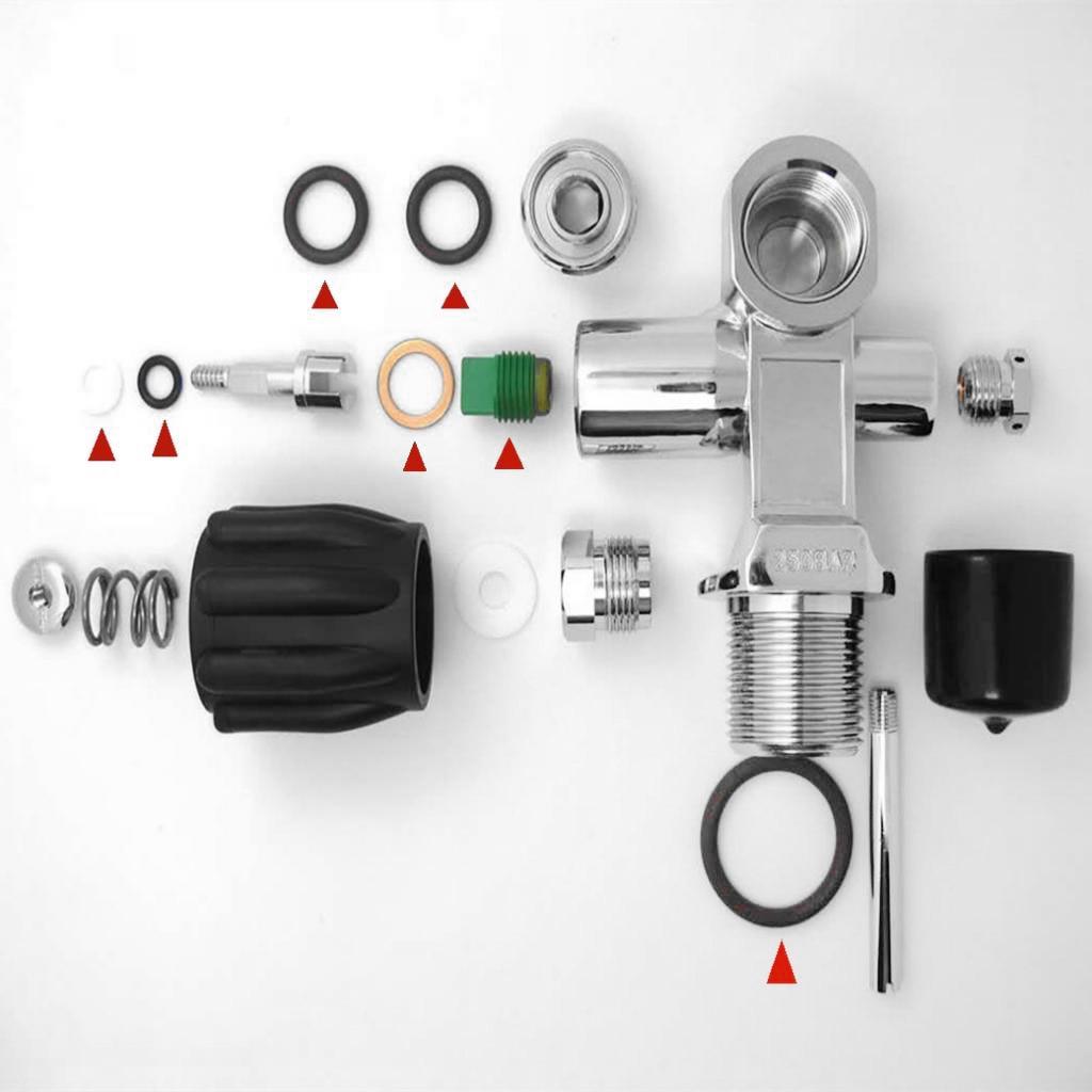 Válvula de tanque de buceo, tanque de buceo, válvula K, Kit de reconstrucción de piezas, accesorio de anillo redondo, conjunto de montaje de asiento de válvula para buceo de cobre