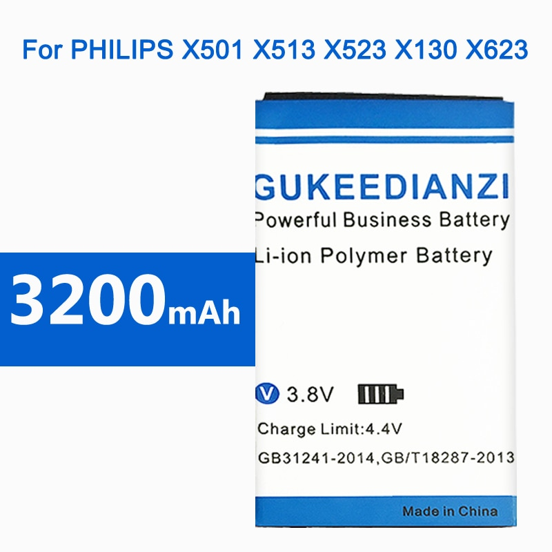 GUKEEDIANZI аккумулятор для телефона PHILIPS Xenium X501 X513 X523 X130 X623 X3560 CTX130 CTX523 CTX513 3200 мАч AB2000AWMC /AB2000FWML