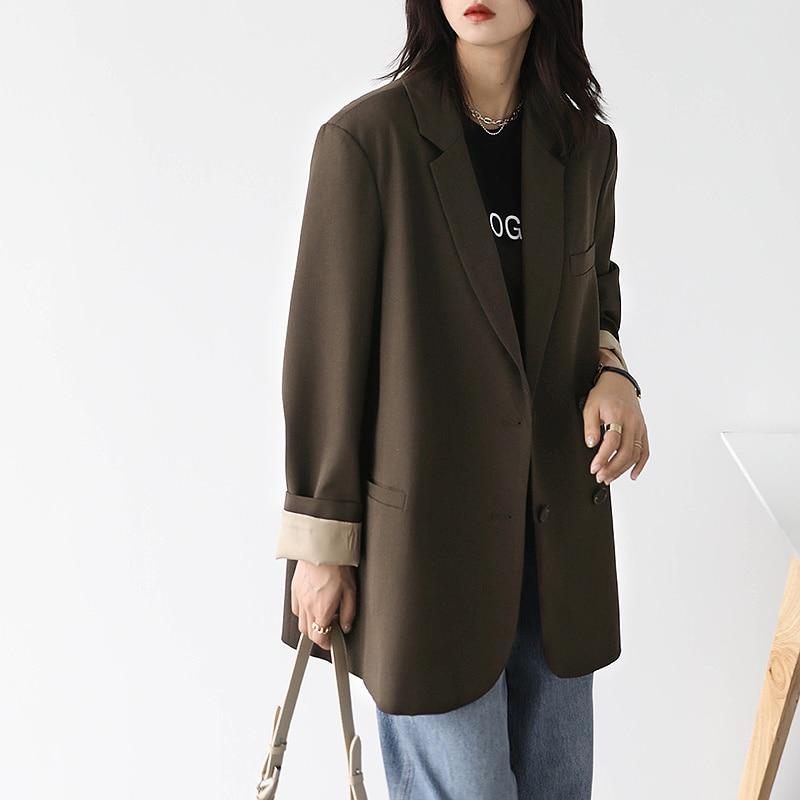 2021 Autumn New Suit Leisure Advanced Sense Cuff Crimping Contrast Color Loose Coat Women's Small Su