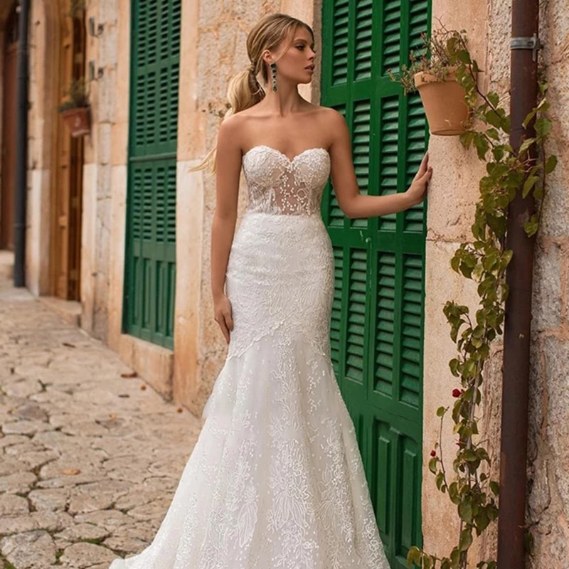Review Mermaid wedding dress tube top backless wedding gown lace embroidery applique sexy and beautiful simple bridal dresses