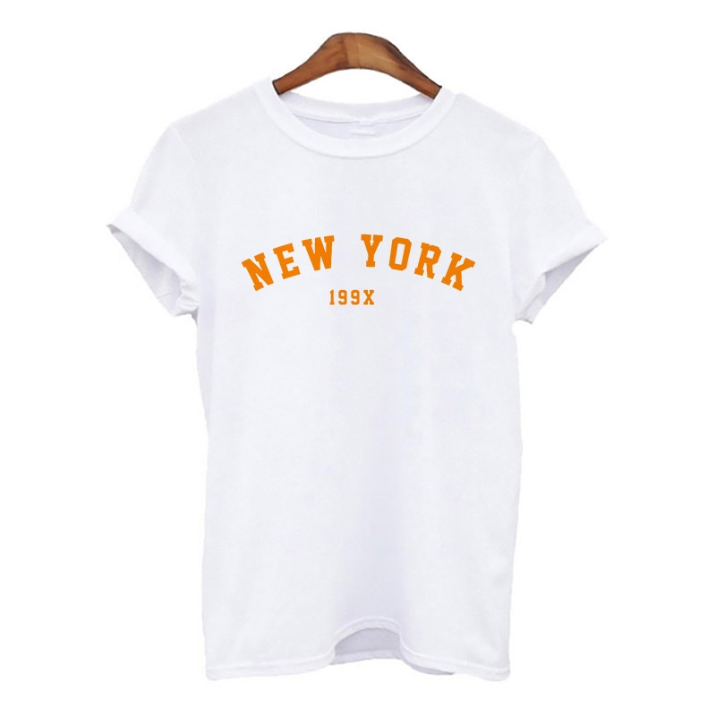 New York Letter Printing 2021 Hot Summer Women Harajuku Women tshirts Simple white T-shirt For Lady Hipster shirt Feamle
