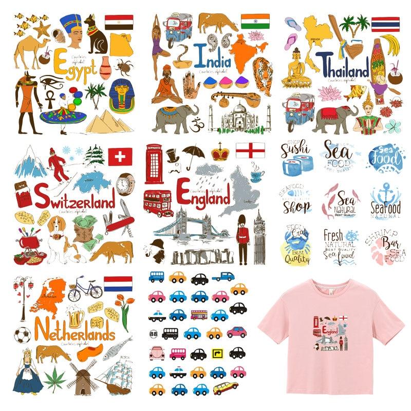 Автомобильная заплатка с животными, комплект с железом для России, Турции, Франции, ЕС, Нидерландов, флагом, нашивки для детей, одежда, футболка, сделай сам, термопресс