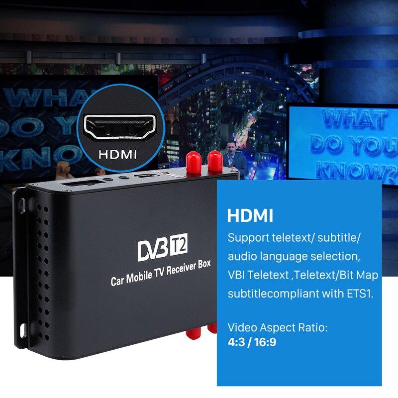 DVB-T2 H.265 Max 180km/h USB Tuner DVB T2 Car Mobile TV Receiver Box 4 Amplifier Antenna Europe Car Digital TV Tuner 1080P HDMI