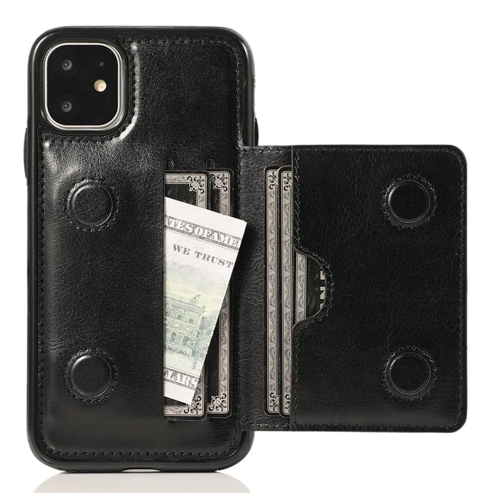 Funda Cartera de cuero para iPhone 11 Pro Max X XS Max XR 6 6s 7 8 Plus 5 5S SE bolsa con tarjetero duradero a prueba de golpes