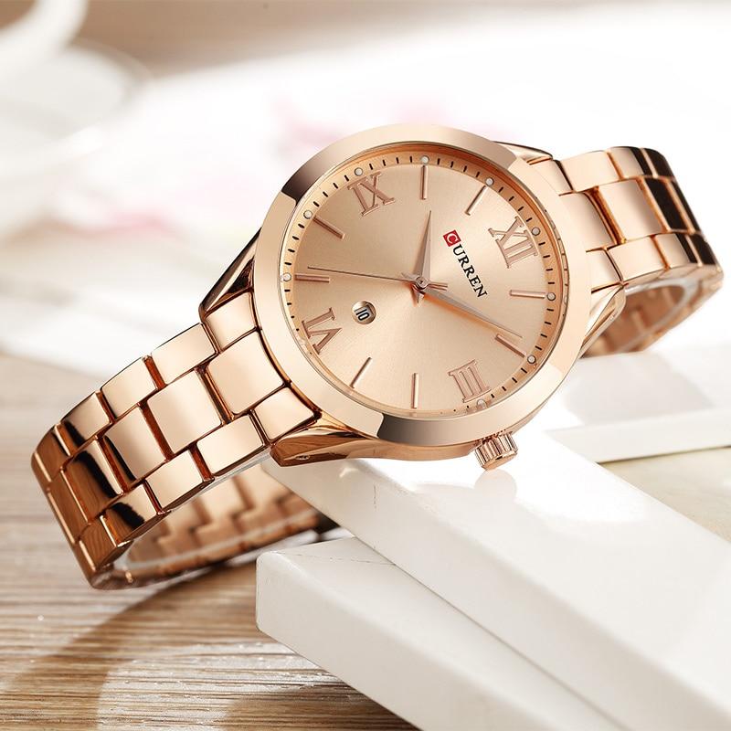 الذهب مشاهدة النساء الساعات السيدات الإبداعية الصلب المرأة ساعات يد ساعة الإناث Relogio Feminino Montre فام