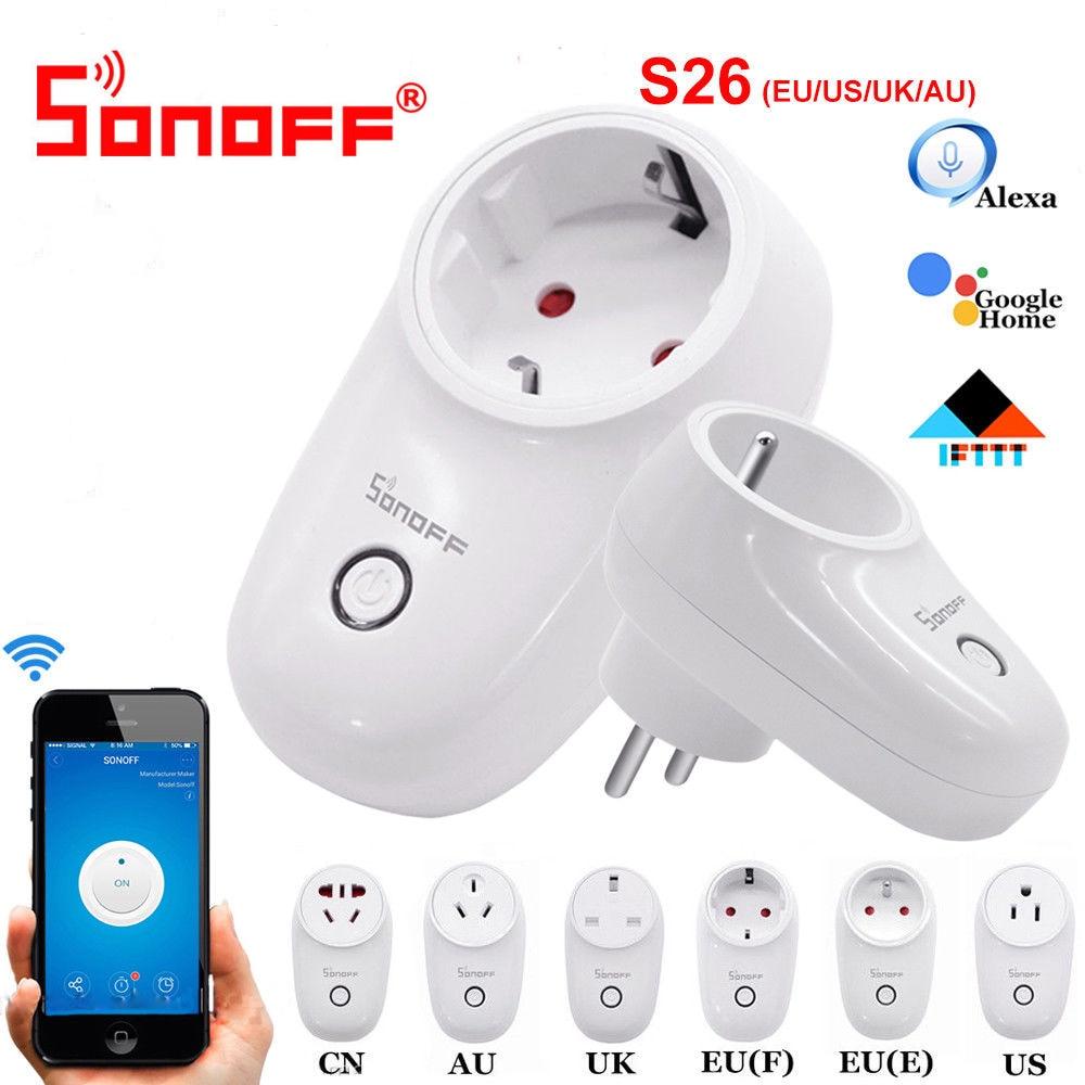 Sonoff S26 WiFi умная вилка EU US UK AU CN Автоматизация умный дом пульт дистанционного управления совместим с eWelink Alexa Amazon Google Home
