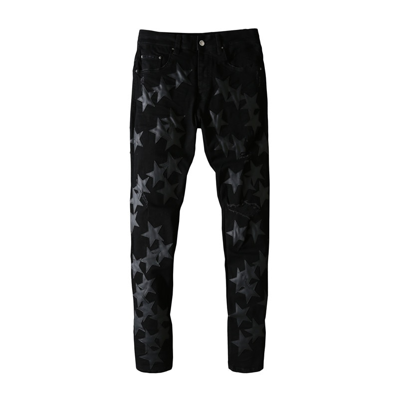 American Famous Brand Five-pointed Star Patch A Black Jeans Streetwear Wash Black MIRI Traf Men's Clothing Men Trousers