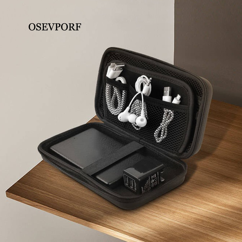 Power Bank Case Hard Case Box For Hard Drive Disk USB Cable External Storage Carrying SSD HDD Earpho