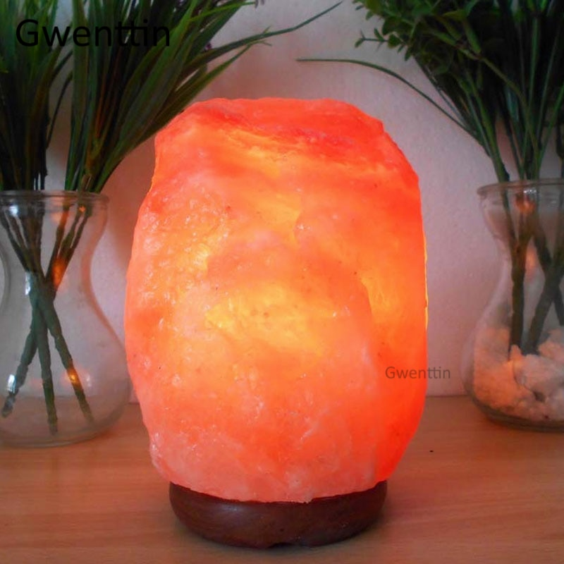 Himalayan Rock Crystal Salt Lamp LED Night Light Hand Carved Wooden Base Stand Light Air Purifier Bedroom Home Decor Luminaria enlarge