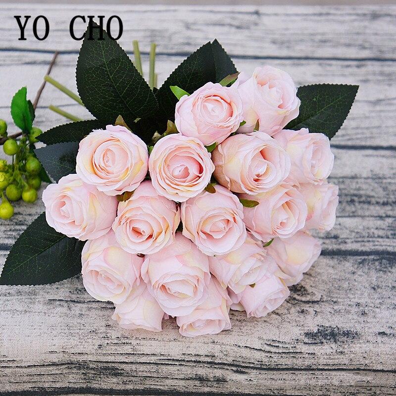 18 köpfe Rose Rosa Seide Künstliche Blumen Gefälschte Rosen Blumen Braut Bouquet Hochzeit Tisch Dekor Hause Schreibtisch Zimmer DIY Arrangieren flore