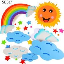 Creative DIY Foam Rainbow Cloud Sun for Kids Learning Educational Toy Wall Decor