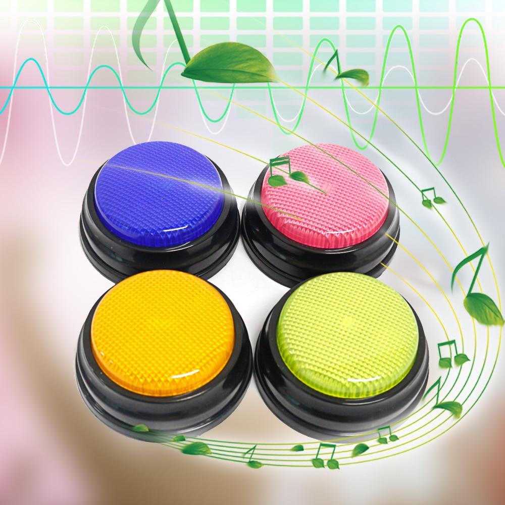 Botón parlante grabable con función Led, recursos de aprendizaje, zumbadores de respuesta naranja + azul + verde + rosa