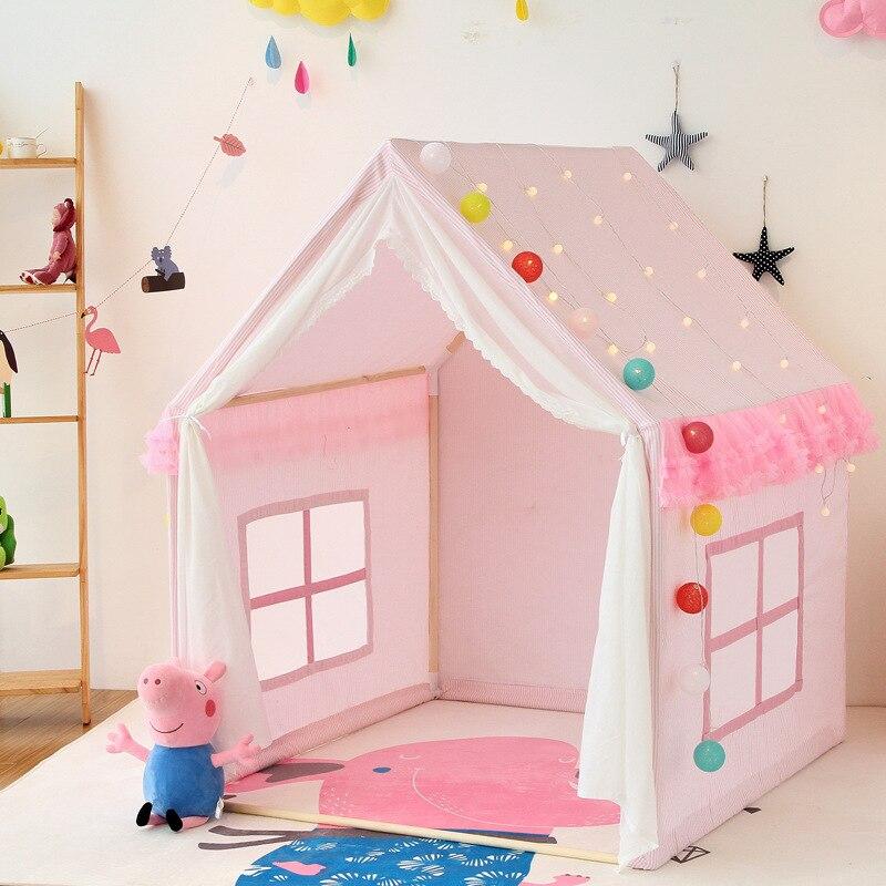 خيام للأطفال قابلة للطي مصنوعة من القطن خيمة زاحفة مسرح كبير قلعة الأميرة المحمولة في الأماكن المغلقة ألعاب مخيم ألعاب للبنات هدايا