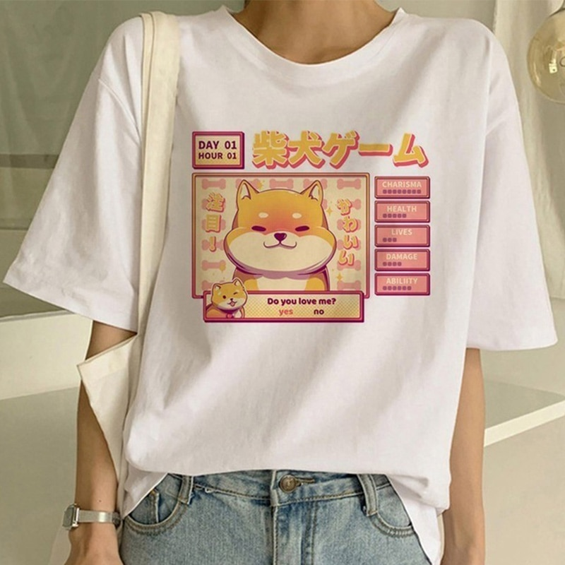 Camiseta Casual de verano con estampado de dibujos animados para mujer, Camiseta con estampado de perro de manga corta y cuello redondo, camisetas de moda 2020 para mujer