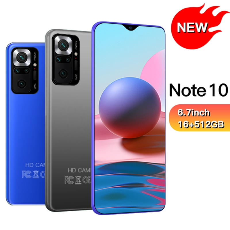 Note10 Smartphone 6.7 inch 4G/5G 8GB+128GB 3000mAh Unlocked Mobile Phones Android Telefones Celulares Global Version Cell Phone