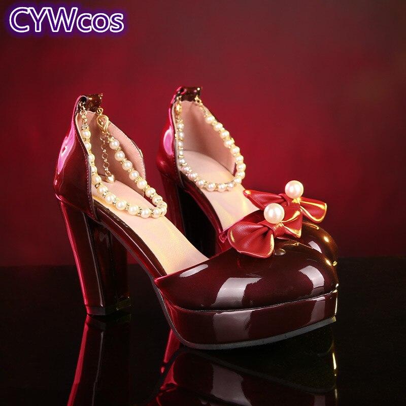 Destino/gran orden Irkalla FGO Luna cáncer novia Ereshkigal Cosplay zapatos mujer rojo oscuro tacones altos zapatos