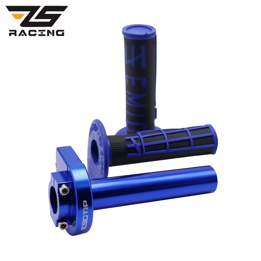 ZS Racing 7/8'' 22mm CNC Aluminum Grips Motorcycle Grip Throttle Settle Handle Throttle Grips Fit for Pit Dirt Bike Motocross