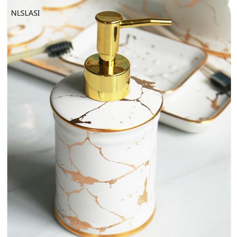 5 pcs/set Ceramic Bathroom Accessory Set Imitation marble Soap dispenser gargle cup Toothbrush Holder bathroom decoration enlarge