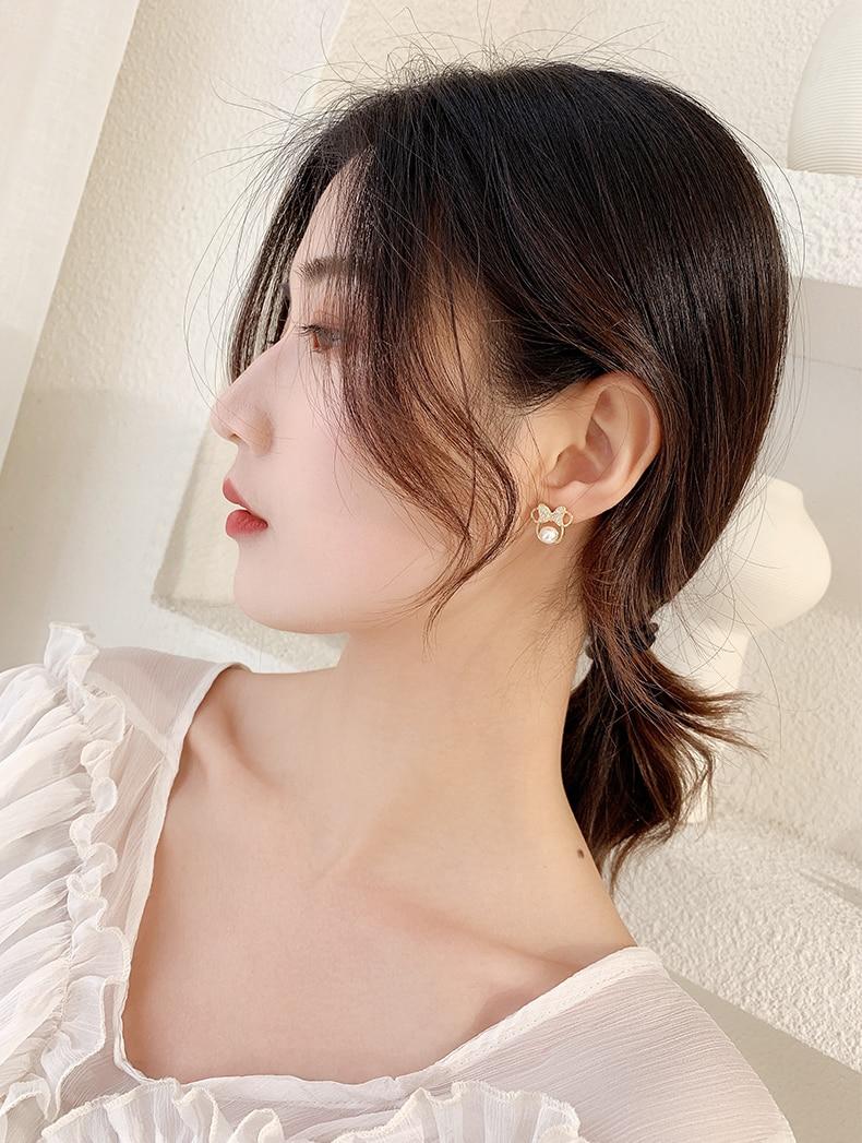 Anting-anting kristal mutiara kristal untuk wanita busur sederhana - Perhiasan fesyen - Foto 5