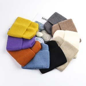 VISROVER 9 colors solid color Cat Ear crylic beanies winter hat for woman best matchacrylic woman Autumn Warm skullies wholesale