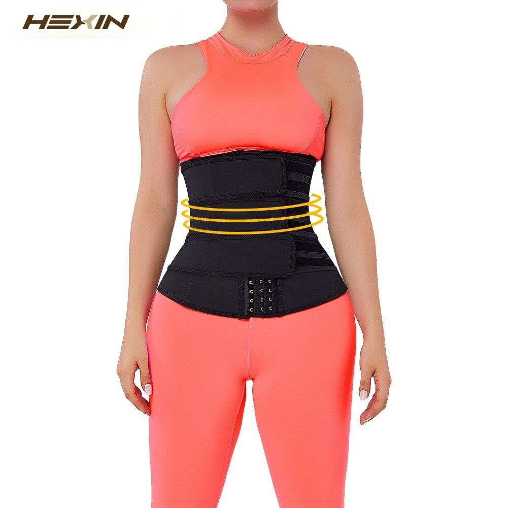 HEXIN مشد النساء اللاتكس الجسم ملابس داخلية 7 الصلب العظام فقدان الوزن الخصر المدرب تحكم سليم اللاتكس الخصر المتقلب مع ثلاثة السنانير