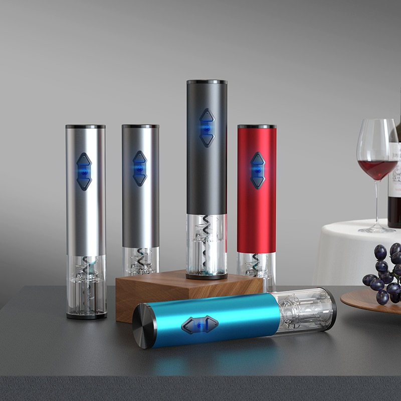 No. 5 Battery Stainless Steel Automatic Electric Red Wine Bottle Opener Lid